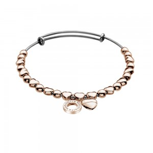 Emozioni Rose Gold Plated Heart Bangle