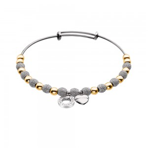 Emozioni Silver and Yellow Gold Plate Ula Bangle