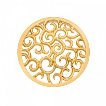 Winding Path Yellow Gold Plated Emozioni Coin - Angled