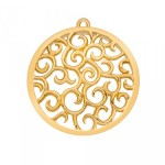 Winding Path Yellow Gold Plated Emozioni Coin with loop