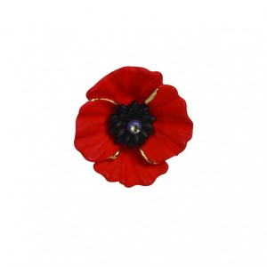 PEACE POPPY 18ct Gold Plated Lapel Pin Set With Swarovski Crystal