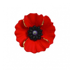 PEACE POPPY 18ct Gold Plated Brooch Set With Swarovski Crystal – Medium