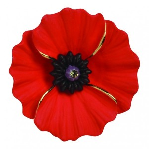 PEACE POPPY 18ct Gold Plated Brooch Set With Swarovski Crystal – Large