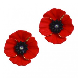 PEACE POPPY 18ct Gold Plated Clip Earrings Set With Swarovski Crystal – Large