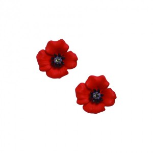 PASSION POPPY Enamel Clip Earrings Set With Swarovski Crystal – Small
