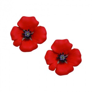 PASSION POPPY Enamel Clip Earrings Set With Swarovski Crystal – Large