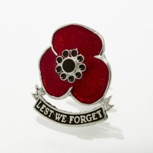 'Lest We Forget' Sterling Silver Remembrance Poppy Pin