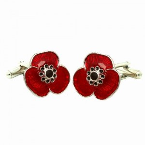 Sterling Silver Remembrance Poppy Cufflinks