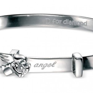 D for Diamond Angel Children's Sterling Silver Diamond Bangle