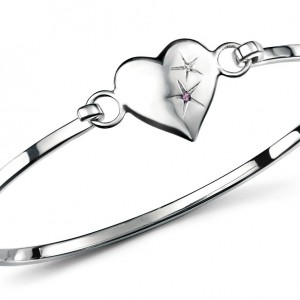 D for Diamond Amethyst Heart Children's Sterling Silver Diamond Bangle