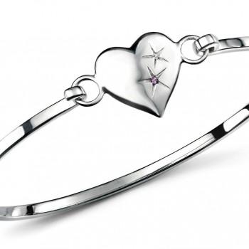 D for Diamond Amethyst Heart Children's Sterling Silver Diamond Bangle - Front