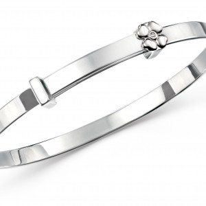 D for Diamond Four Leaf Clover Children's Sterling Silver Diamond Bangle