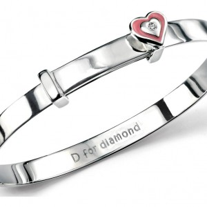 D for Diamond Pink Heart Children's Sterling Silver Diamond Bangle