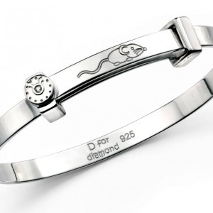 D for Diamond Hickory Dickory Dock Children's Sterling Silver Diamond Bangle