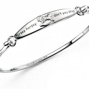 D for Diamond Horsey Horsey Children's Sterling Silver Diamond Bangle