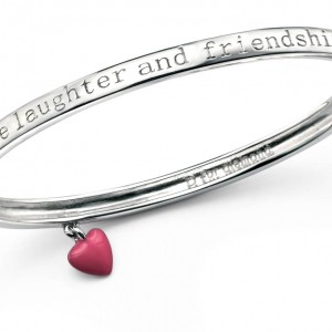 D for Diamond Love Laughter and Friendship Children's Sterling Silver Diamond Bangle
