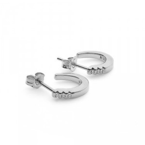 Hot Diamonds Halo Silver Crescent Earrings