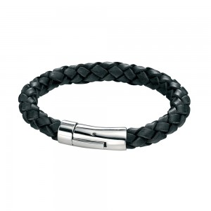 fredbennett Gents Leather & Steel Bracelet  ref B3672