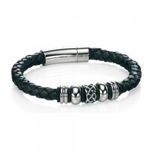 fredbennett Gents Leather & Steel Bracelet  ref B4211 Longer Length