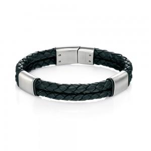 fredbennett Gents Leather & Steel Bracelet  ref B4373