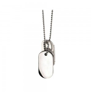 fredbennett Stainless Steel Double Dog Tags & Chain. N2686